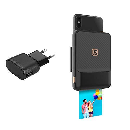 Lifeprint LPINSKIT-BK Stampante Istantanea Bluetooth, Trasforma il tuo smartphone in una fotocamera istantanea, Compatibilità Apple e Android, Caricatore da muro EU 1 USB 1 A - Nero