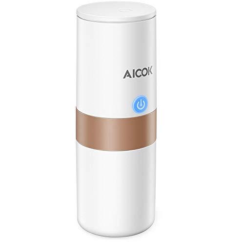 Macchina caffè portatile Aicok, macchina da caffè da viaggio, ricarica per auto, funzionamento a 1 pulsante, perfetta per il campeggio, i viaggi, la cucina e l'ufficio