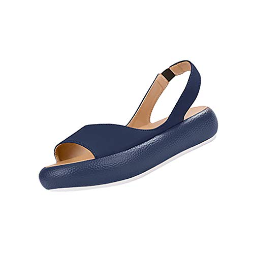 elastico sabot donna con zeppa estat donna sandalo donna comodi scarp scarp zeppe donna infradito donna eleganti sposa (31C-Blue,38)
