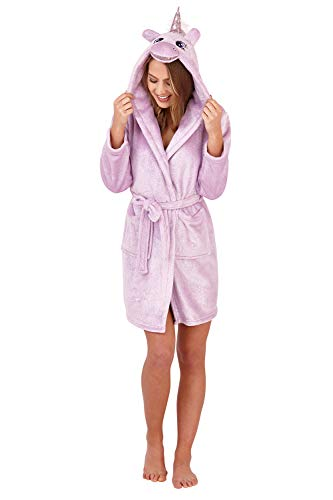 Loungeable Luxuriöse, superweiche Damen-Bademäntel aus Fleece. Gr. Größe-L-UK, Sparkle Bademantel, Lila