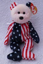 TY Beanie Babies Spangle Pink Face The Bear Plush Toy Stuffed Animal Patriotic 4oth of July / Voting Bear red White and Blue Colors Like American Flag. Bear Colors and Designs Will Vary Slightly