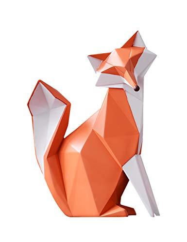 Amoy-Art Skulptur Fuchs Geometrisch Figuren Handgefertigte Dekoration Premium Geschenk Souvenir Geschenkbox Sichere Farbe für Kinder Statue Tier Polyresin 20cmH