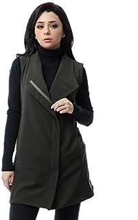 Andora Cotton Side Pockets Solid Zip-up Vest for Women - Dark Olive, M