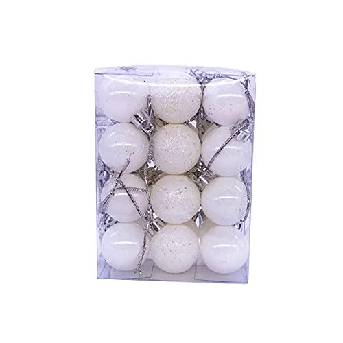 Washranp 24 Pz/set di alberi di Natale ciondolo a sfera appeso decorazione squisita plastica appeso palle set glitter palla appeso decorazione per la casa bianco