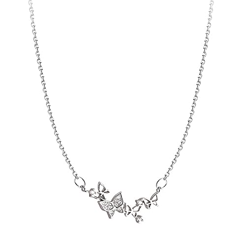 WJWAINI 925 Sterling Silver Pendant Butterfly Crystal Zircon Angel Medallón Collar Square Crystal Zircon 925 Sterling Silver Pendant Necklace Adecuado para Hombres Y Mujeres Fashion Simple Birthday