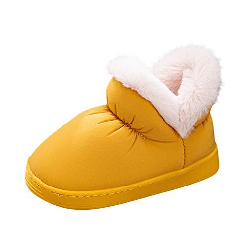 Botas/Nieve/Mujer Fur Forro Bota/Invierno/PU Cuero/Zapatillas/Senderismo/Aire Libre Planas/Trekking Caminar Duradero Amarillo Negro Marr/ón Beige Verde 35-43