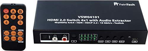 FeinTech VSW04101HDMI 2.0Switch 4su 1selettore con estrattore audio Toslink 4K@60Hz HDR nero
