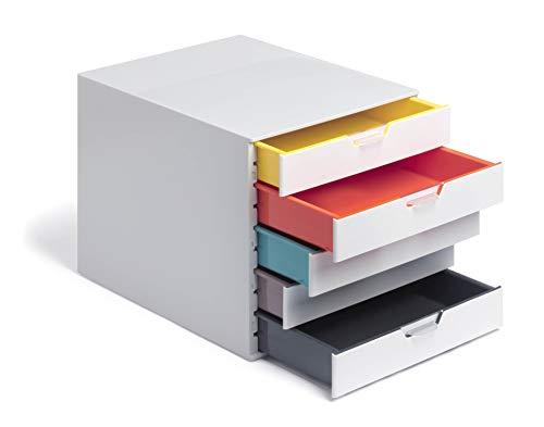 Durable 762527 Caja de cajones A4 , Varicolor Mix, 5 compartimentos, con etiquetas para etiquetar, multicolor
