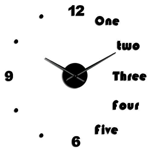 Reloj de Pared DIY Alfabeto inglés Reloj de Pared Reloj de Pared DIY Gigante sin Marco 3D Reloj de Pared Grande Espejo Pegatina Sala de Estar Dormitorio decoración de la Pared -27 Pulgadas