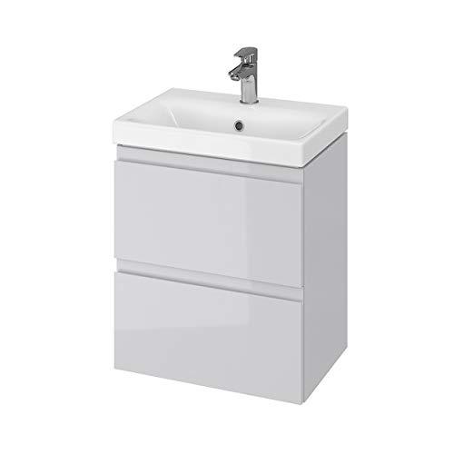 VBChome Badmöbel Slim Grau 50 x 35 cm Waschbecken mit Unterschrank Waschtisch 2-Schubladen Badschrank Holz Moduo