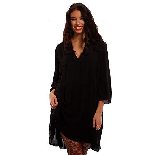 YC Fashion & Style Damen Tunika Kleid Uni Boho Look Party-Kleid Freizeit Minikleid oder Herbstkleid Kleid Für Frauen mit Kurven HP222 Made in Italy (One Size, Schwarz)