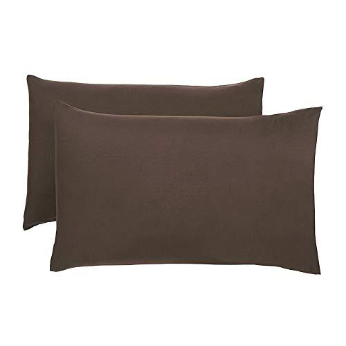 shoppingba Fundas de almohada de satén fundas de almohada de microfibra de seda con cierre de sobre de 50 x 70 cm, 2 fundas de cojín de color liso suave para decoración de sofá, silla, color chocolate