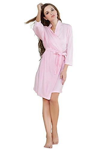 Godsen Women's Soft Knit Cotton Comfortable Bathrobe Long Sleeve Sleepwear Robes(L, Pink)