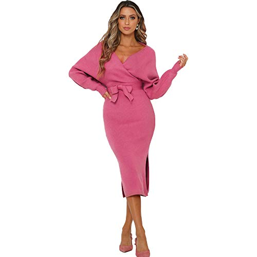 NZHK Womens gebreide jurk V-hals zonder rug lange mouwen tuniek jurk met riem