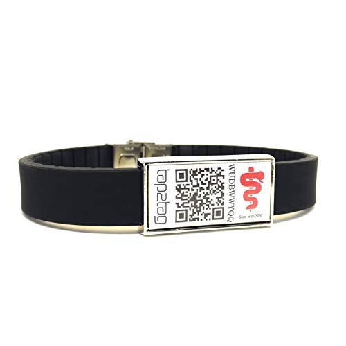 Tap2Tag Medizinisches Notfall-Armband, verstellbar, (Scan mit NFC oder QR-Code)