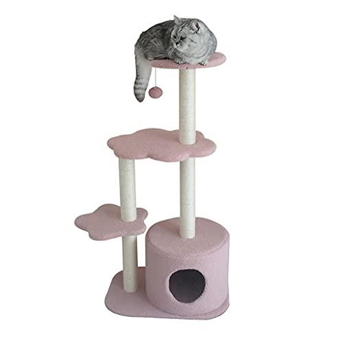 Mueble para condominio con árbol para gatos, torre alta con árbol para gatos para interiores, muebles para gatos de varios niveles con postes rascadores, con postes de sisal como centro de actividad