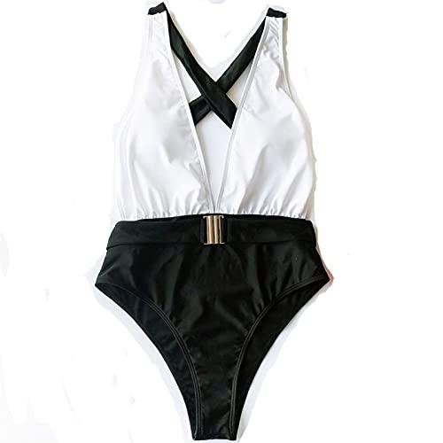 YUANYUAN520 Sexy Profundo Enr Cuello Traje De Baño Mujeres Vintage Una Pieza Traje De Baño Traje De Baño Sólido Femenino Ropa De Baño (Color : Black Swimsuit, Size : S.)