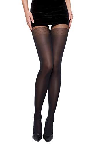 Selente Lovely Legs raffinierte Damen Strumpfhose in Strapsstrumpf-Optik, 40 DEN, Made in EU, schwarz-Punkte-40den, Gr. S