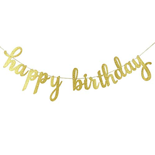 Happy Birthday Gold- Glitter Banner for Birthday Party 1st Birthday Party Decorations- Safe & Eco-Friendly Stand