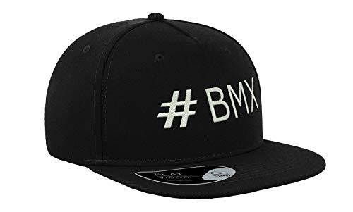 Generic Hashtag BMX Motocross Ricamato Piatto Visor Berretto Unisex Snapback Traspirante Cappello Cappellino da Baseball Full cap Confortevole All'aperto Nero
