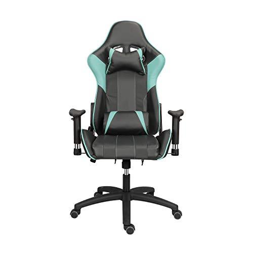 Gaming Stuhl Bürostuhl, Ergonomischer Stuhl PU Leder mit Kopfstütze und Lordosenstütze,Einstellbarer Neigungswinkel 155°, 125kg Belastbarkeit (Blauer See)