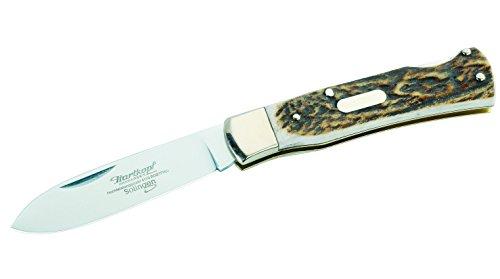 Hartkopf-Solingen Erwachsene Jagd-Taschenmesser, Stahl 1.4110, Hirschhorn, Neusilber, Mehrfarbig, 17.5 cm
