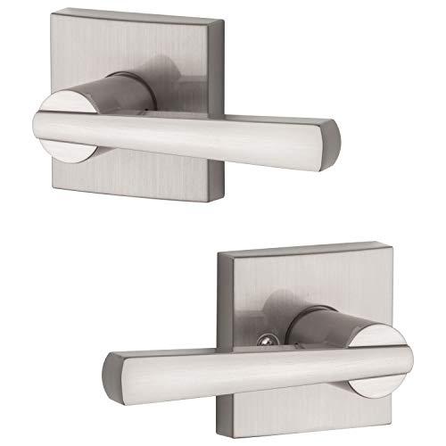 Baldwin Maçaneta de passagem Spyglass para porta de corredor ou armário em níquel acetinado, série Prestige com um design moderno e contemporâneo fino para portas interiores