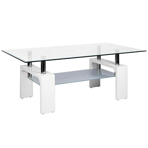 Rectangle Glass Coffee Table Modern Side Table Living Room Furniture Top Lower Shelf Chrome and MDF (White With Clear Tempered Glass)