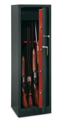 Porta: 3 mm Corpo: 2mm Armadio per 10 fucili Serratura di sicurezza con chiave a doppio pannello. Chiave prigioniera serratura aperta 4 bulloni in acciaio nichelato, diametro 20 mm. Cofanetto interno per munizioni con chiusura a chiave Fori di fissag...