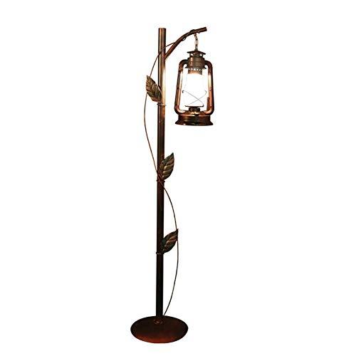 L-YINGZON Lámpara de pie americano Rural hacer el viejo Barrido rojo Hierro forjado lámpara de keroseno con la decoración de la hoja de pie Lámpara de 1,65 M con interruptor de pie for el café de la b