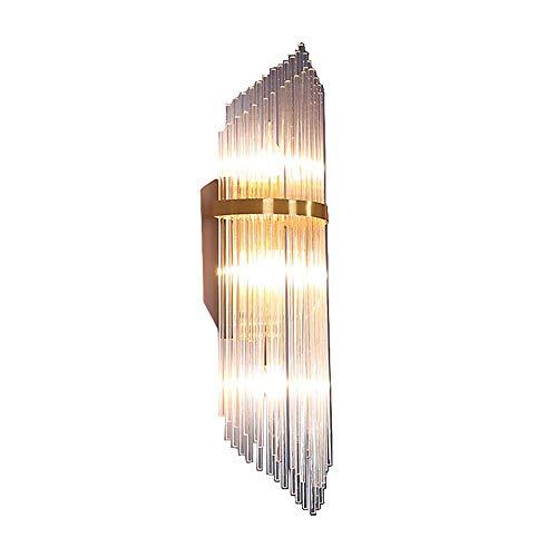 Slaapkamer Armaturen Europese luxe Crystal Glass Combinatie lampenkap Gold Bronze ijzeren muur Lamp Nordic Hotel Fixture Living Room Dining Hall Hotel omgekeerde driehoek E14 Muur Light H: 50CM W Wand