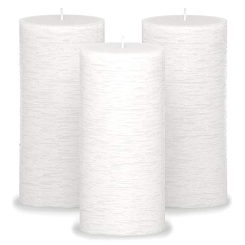 CANDWAX 3x6 Pillar Candles Set of 3 - Decorative Candles Unscented and No Drip Candles - Ideal as Wedding Candles or Large Candles for Home Interior - White Candles