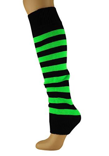Mysocks Beinwärmer Streifen Neongrün Schwarz