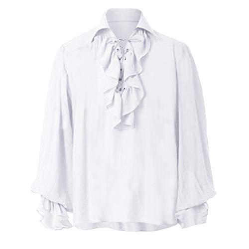 Mens Scottish Jacobite Ghillie Kilt Shirts White Cream Highland Shirt Casual Long Sleeve Lace-up Shirt