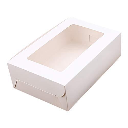 FZAY - Caja para tartas, 10 paquetes de cajas de papel kraft para cupcakes con inserciones de 2/4/6 agujeros para magdalenas, Blanco, 6 Holes