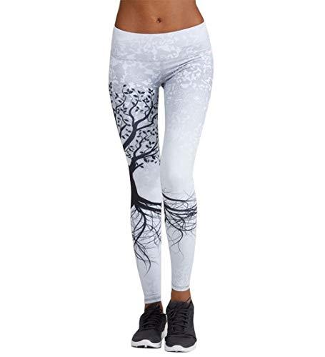Pantaloni Yoga Donna Sport Tuta Donna Pilates Loose Fit Jogging Sportivi Pantaloni Spandex Push Up Leggings Atletico Fitness (Bianco, XL)