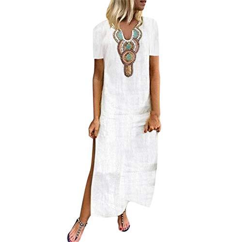 Women Casual Cut V-Neck Short Sleeve Loose Fit Long Shift Dress Summer Beach Holiday Boho Maxi Dress with Side Split White