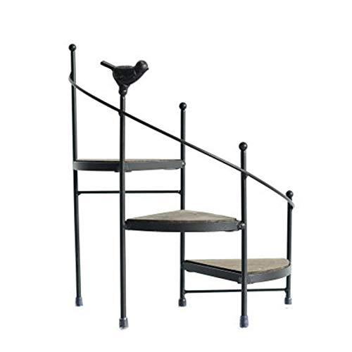 QPY Moderner dekorativer Eisenständer für Pflanzen, Sukkulenten, 3 Ebenen, Treppenform, Schreibtisch, Garten, Blumenständer + Holzplatte