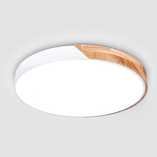 EDISLIVE LED Lámpara de techo madera luz de techo Dimmable Iluminación Dormitorio Sala de estar Lámpara de techo de montaje empotrado (Blanco, 40cm)