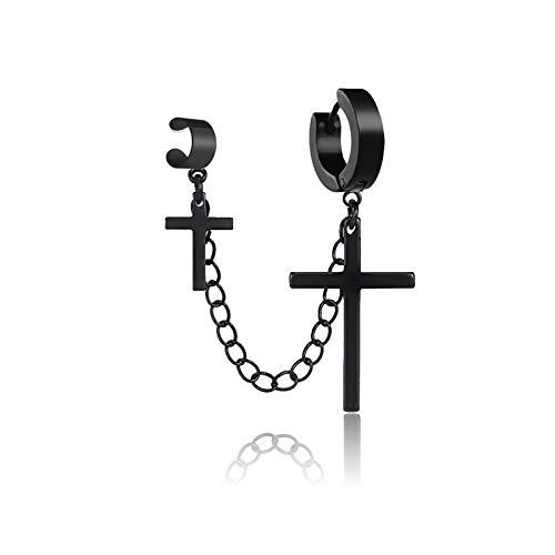 1 pieza punk gótico de acero inoxidable con forma de cruz redonda piercing de gota pendientes de moda para mujeres y hombres
