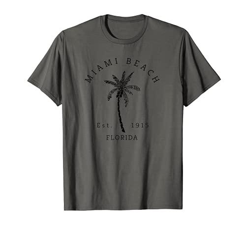 Retro Cool Vintage Miami Beach Palmera Imagen Florida Beach Camiseta