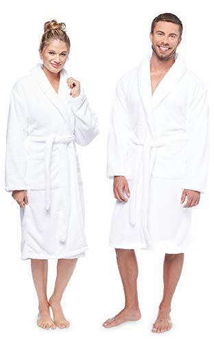 Terry Towels Classic Bath Robe, Premium Spa Robe, Large White