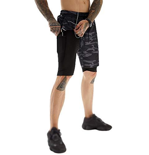 Tuopuda 2 in 1 Herren Sport Shorts,Schnelltrocknende Jogginghose mit Tasch,Kopfhörerstecker Hängendes Handtuchloch Kurze Hosen Laufen Workout Fitness(Tarnung-2,XL)