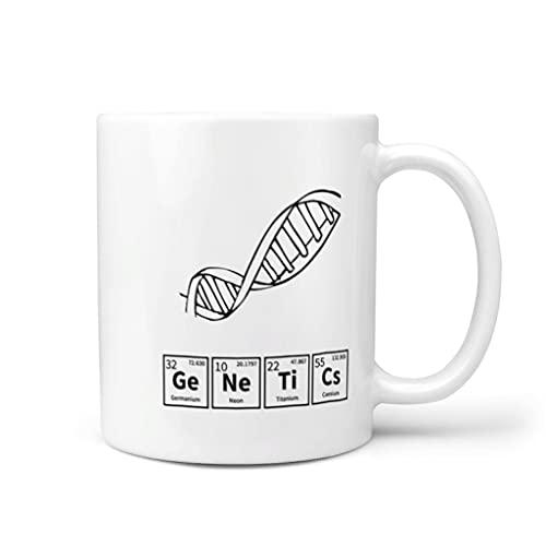 Wingard Leviosar Taza de café Genetics de cerámica lisa retro moderna – taza de té para el hogar para el aniversario blanco 11 oz