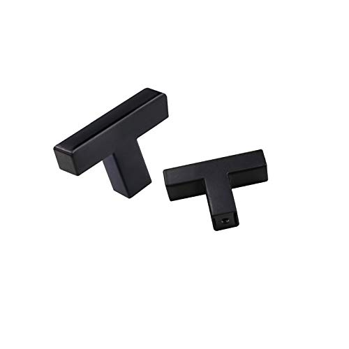 OYX 10 Pack Matte Black Knobs Black Cabinet Pulls Black Square T Bar 2in Overall Length Black Kitchen Cabinet Knobs Single Hole Knobs Modern Hardware for Kitchen and Bathroom Cabinets