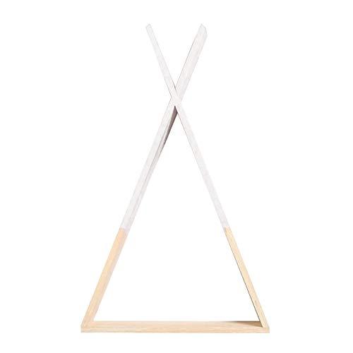 Baoblaze Estante Decorativo nórdico de Pared triángulo Estante de Madera estantes flotantes Estante Decorativo Colgante para la Oficina en casa - Blanco