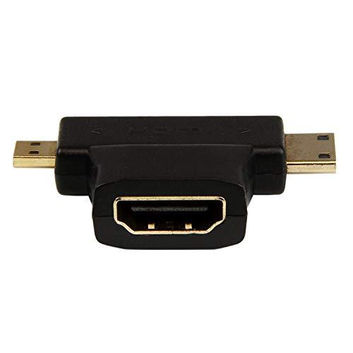 Adaptador Conversor HDMI a Mini o Micro HDMI Doble a T, Conectores Chapado en Oro