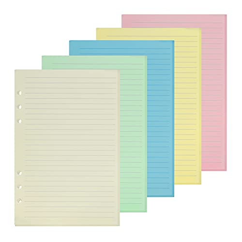 GOLRISEN Papel de Recambio A5 con 6 Anillas para Diario o Agenda, Hojas de Recambio de Colores(Azul, Rosa, Amarillo, Verde, Blanco), 100 Hojas, Recambios para Cuadernos/Carpetas/Apuntes, para Escribir