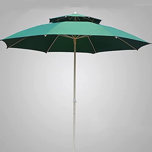 Pkfinrd Doble Patio Patio Paraguas Gran Playa Paraguas 3 Nivel Ventilado Mesa Al Aire Libre Paraguas UV Protección Garden Parasol para Picnic Exterior - Azul (sin Base) (Color : Khaki, Size : 2.5m)