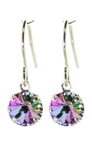 pewterhooter petite 925 Silver drop earrings for women. Sparkling Starlight crystal from Swarovski. Gift box. Made in the UK.